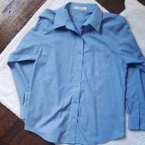 Foxcroft Blue Wrinkle Free Button Down Shirt SZ 12